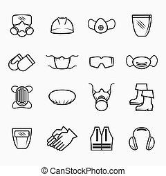 biztonság, hivatással összefüggő, egészség, ikonok