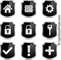biztonság, ikonok