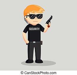 biztonság, kézifegyver, őr