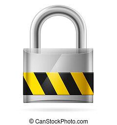 biztonság, kipárnáz, bezárt, zár, fogalom