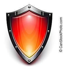 biztonság, pajzs, piros