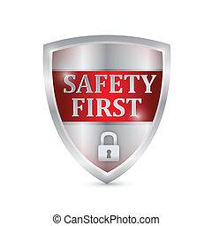 biztonság, tervezés, pajzs, ábra, először