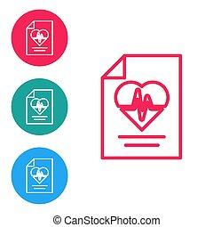 biztosítás, biztonság, biztonság, elszigetelt, oltalmaz, egészség, háttér., oltalom, türelmes, piros, vektor, protection., karika, egyenes, fehér, ikon, buttons., concept., állhatatos, ikonok