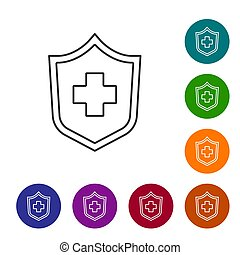 biztosítás elpirul, biztonság, biztonság, elszigetelt, oltalmaz, egészség, háttér., oltalom, türelmes, vektor, protection., karika, egyenes, fehér, ikon, buttons., concept., állhatatos, ikonok, fekete