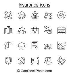 biztosítás, híg, ikon, állhatatos, egyenes, mód