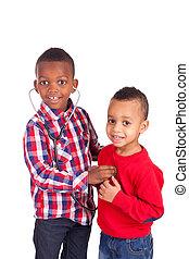 black american, gyermek, sztetoszkóp, afrikai
