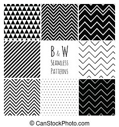 black háttér, geometriai, fehér, set., seamless