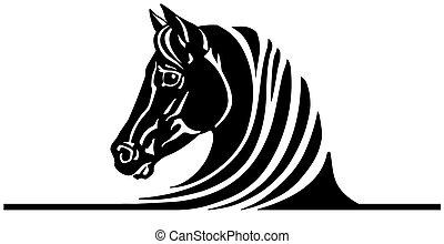 black ló, jel, fej