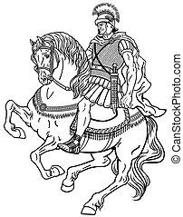 black ló, római, harcos, fehér