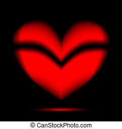 black szív, piros háttér