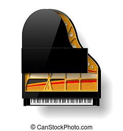 black tető, nyílik, zongora, nagy