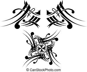 black-white, tetovál, törzsi, tervezés