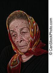 black woman, öreg, háttér, öregedő