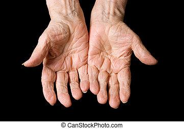 black woman, öreg, háttér, kézbesít