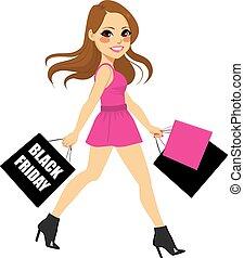 black woman, bevásárlás, péntek