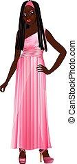 black woman, talár, rózsaszínű