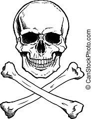 black/white, emberi koponya, keresztezett lábszárcsontok