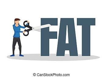 block., leány, fogalom, használ, óriási, elvág, kövér, ollóval vág, súlyozott kár