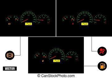 blokkolásgátló, fuel., műszerfal, indicators:, légzsák, autó