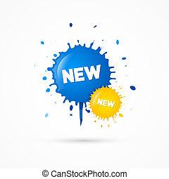 blots, kék, cím, ikonok, kiárusítás, sárga, vektor, új
