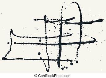 blots, loccsan, kéz, háttér., gally, fekete tinta, húzott