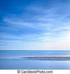 blue óceán, napnyugta, egyenes, tengerpart, homokos