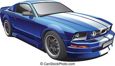 blue autó, izom