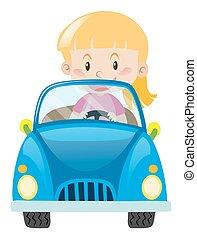 blue autó, kicsi lány, vezetés