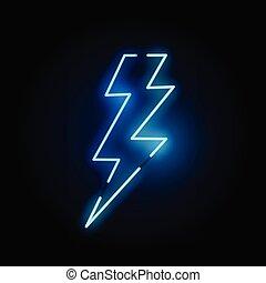 blue csillogó, neon, csavar, villámlás
