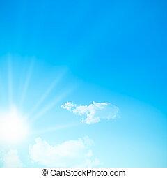 blue egyenesen, hely, ég, kép, napos, elhomályosul, szabad, somes, nap, text., közben, nap, sunlight.