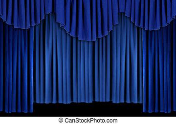 blue függöny, fényes, szövettel bevon, háttér