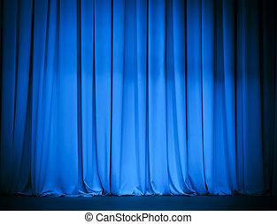 blue függöny, színház
