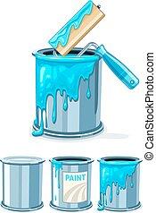 blue festmény, vödrök, festmény, hajcsavaró