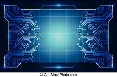 blue háttér, concept., ábra, vektor, áramkör, technológia