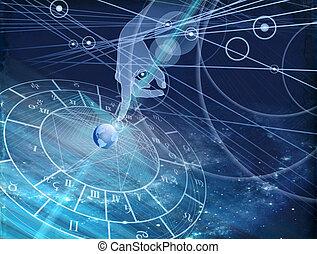 blue háttér, diagram, astrological