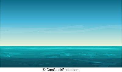 blue háttér, sky., világos, óceán, vektor, tenger, karikatúra, üres