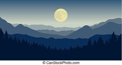 blue hegy, holdtölte, erdő, éjszaka, táj