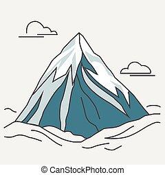 blue hegy, peak., clouds., havas