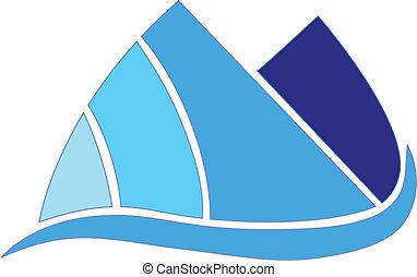 blue hegy, társaság, vektor, tervezés, ikon