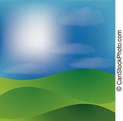 blue hegy, völgy, ég, napos