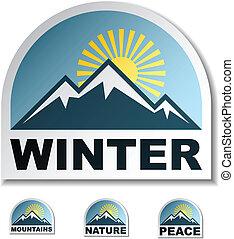 blue hegy, vektor, böllér, tél