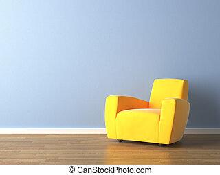 blue közfal, karosszék, sárga, tervezés, belső