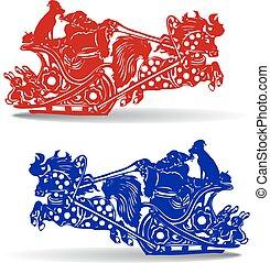 blue), kutya, klaus, árnykép, gyorsan, karácsony, (red, háttér, lóháton, szent, sleigh, fehér, gördülni, karikatúra