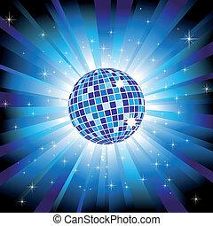 blue labda, kitörés, fény, szikrázó, disco, csillaggal díszít, fénylik