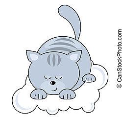 blue macska, meglehetősen, kicsi, alvás, felhő