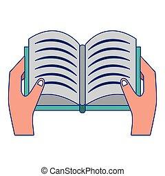 blue megtölt, elszigetelt, kéz, könyv, nyílik, karikatúra