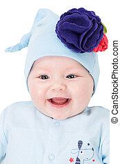 blue szem, fogalom, szeret, leány, .use, elszigetelt, azt, parenting, mosolygós, háttér, csecsemő, portré, fehér, gyermek, vagy