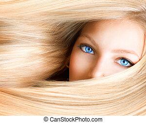 blue szem, nő, girl., szőke, szőke