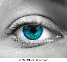 blue szem, vektor, macro., női