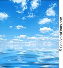 blue víz, ég, visszaverődés